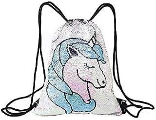 Mermaid Unicorn Drawstring Bag Reversible Sequin Girls Backpack Outdoor Glittering Shoulder Bag for Shopping Beach Hiking ...