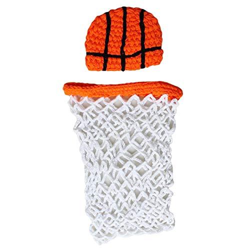 SANON Accesorios de Fotografía para Bebés Trajes de Disfraces de Baloncesto de Ganchillo para Bebés Abrigo de Red Y Sombrero para Bebés de 0 a 6 M