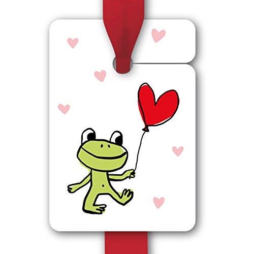 Schattige kikkergeschenkhanger, papieren hanger, cadeaukaarten, etiketten bijvoorbeeld voor een verjaardag, met hartje ballon en hartjes voor leuke cadeaus, om cadeaus mooier te geven.