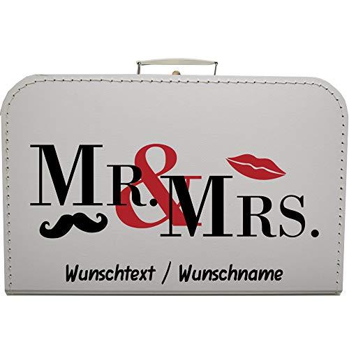 Hochzeitskoffer Mr & Mrs, Pappkoffer mit Wunschtext Koffergröße 35 x 22,5 x 10 cm, Farbe weiß