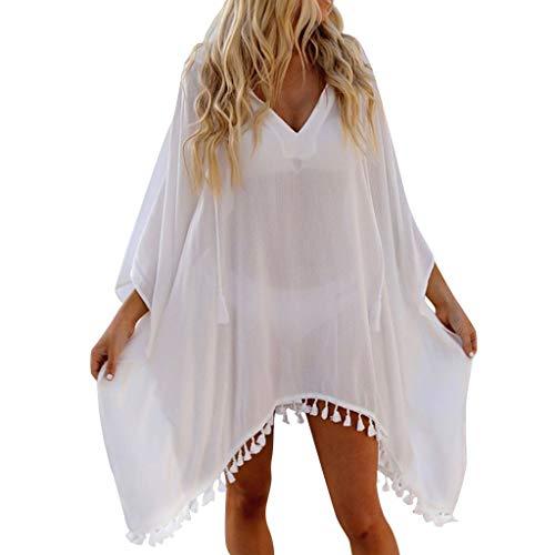 Beautynie Damen Sonnenschutzkleidung Strandkleider Sexy Bikini Cover up Damenmode Boho Weiß Sommerkleider Strandponcho Strandurlaub Tief V-Ausschnitt Badeanzug (Weiß)