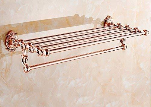 LLLKKK Handtuchhalter,Badezimmer-Hardware-Handtuchhalter-Regal Badezimmer-Stand-Schnitzereien Kupferrohr Rosengold