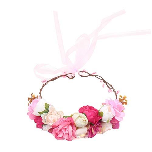 Yazilind Fleur Couronne Bandeau floral coton Guirlande Réglable Accessoires pour fille de fleur Cheveux Guirlande De Mariage Photographie Décoration (# 2)