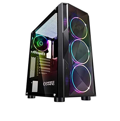 EMPIRE GAMING – Case PC Gamer Diamond ARGB Mid-Tower ATX – Pannello Frontale Diamante plexiglass e Pannello Laterale in Vetro temperato – 4 Ventole LED RGB direzionabili 120 mm