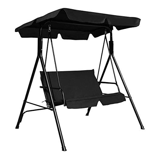 Heize best price Black Outdoor Loveseat Patio 2 Persons Canopy Swing Glider Hammock Cushioned Steel Frame Backyard(U.S. Stock)