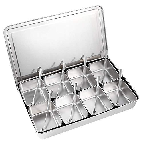 Bar Stools Caja de condimentos de Plata 8 Grids Acero Inoxidable Caja de condimentos Condimento Contenedores de Almacenamiento Spice Jar Utensilios