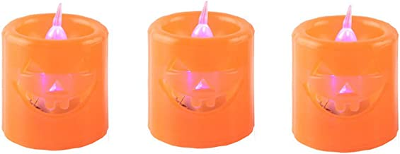 Amosfun 12pcs Halloween Pumpkin Candle Lights Orange Pumpkin Lamp Halloween Pumpkin Lights Decor for Home Bar Shops Hallow...