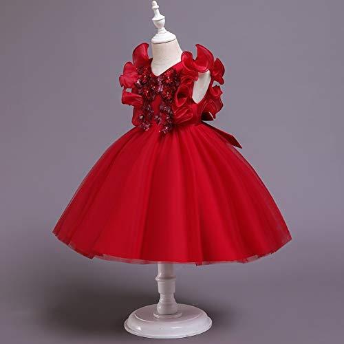 JTSYUXN Mädchen Kleid Rock Kinder V-Ausschnitt Rüschenärmel Tüll Kleid Tutu...