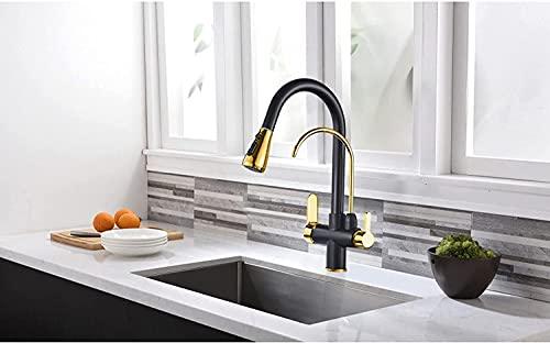 BGHDIDDDDD Grifo Del Grifo de Agua Grúa con Filtro Negro Y Dorado para Cocina Puerizador Extraíble Agua Potable Grifo de Filtro de Agua de Tres Vías Grifo de Cocina Caliente Frío