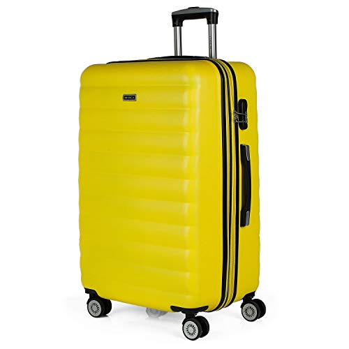 ITACA - Extensible Trolley Suitcase, 70 cm, Large Size, ABS. Rigid, Resistant, Robust and Light. Large Capacity. Telescopic Handle. 2 Retractable Handles, 4 Wheels 71270, Color Yellow