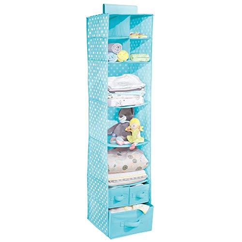 mDesign Organizador colgante con 7 estantes y 3 cajones – Armario perchero de tela con estampado de lunares – Colgador para zapatos ideal para el dormitorio infantil – azul turquesa con puntos blancos