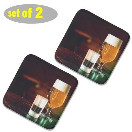 ganten 2 quadratische Stuhlpolster für Küchenstühle, Plüsch, Gartenstuhl, Sitzpolster, rutschfest, für draußen, Dicke Sitzkissen, Esszimmer, 40 x 40 cm, Bier