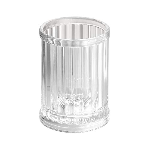 iDesign Alston Plastic Tumbler Cup, Holder for Makeup Brushes, Toothbrushes, Glasses, Brushes on Bathroom, Vanity Countertops, College Dorm, Bedroom Desks, 2.8' x 2.8' x 3.9' - Clear