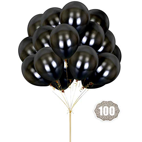 Hoshin Globos Negros, 30cm Espesan látex Globos metálicos para el Banquete de Boda Baby Shower cumpleaños de Navidad Fiesta de Carnaval decoración Suministros (100 PC)