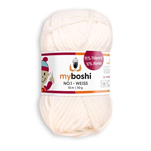 myboshi, No.1 Wolle, 70% Polyacryl, 30% Merinowolle, Weiß, 50g, 55m, 1 Knäuel, Garn zum Häkeln und Stricken, Formstabil, Pflegeleicht