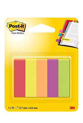 Post-it 63135 Segnapagina in Carta, 12.7 x 44 mm, 5 Colori Jaipur, Rosso Rubino/Giallo Oro/Arancio Neon/Mirtillo/Verde Neon, 250 Pezzi