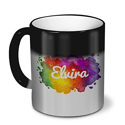 Zaubertasse mit Namen Elvira - Magic Mug mit Design Color Paint - Zauberbecher, magische Kaffeetasse