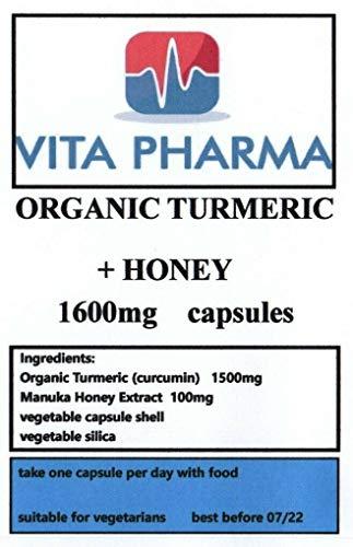 Organic Turmeric + Honey 1600MG, 30 Capsules, by VITA PHARMA, Vegetarian, Produced HERE in The UK