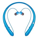 Bluetooth Headphones, Wireless Retractable Earbuds Neckband Headset Noise Cancelling Stereo Earphones with Mic by LINYY (15 Hours Play Time, 2020 Upgrade, Blue)