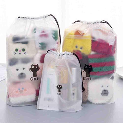 OYHBGK 3pcs accessoires de voyage femmes casual vêtements transparents classifiés cordon organisateurs chaussures emballage sac de trousse de toilette sac