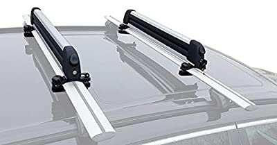 BRIGHTLINES Universal Roof Ski Snowboard Racks Carriers 2pcs Mount on Vehicle top Cross Bars (Up to 6 Skis or 4 Snowboards)