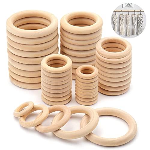 50 Stück Natürliche Holz Ringe,Holzringe 2cm,3cm,4cm,5cm,6cm,Holzringe Baby,Holzring Set,Macrame Holz Perlen,DIY handgefertigte Dekorationen,Natürliche Runde