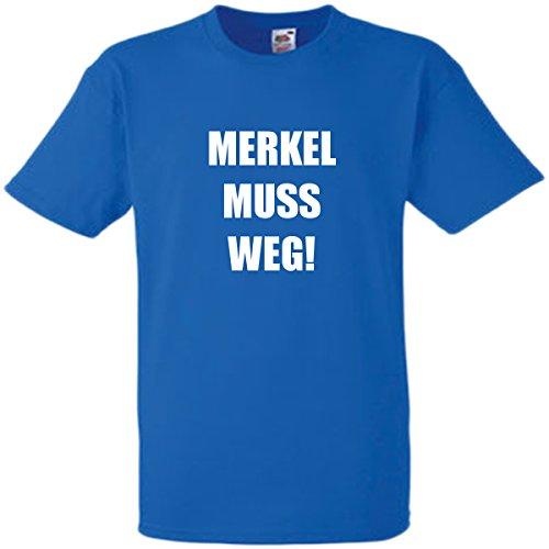 Merkel muss Weg T-Shirt (blau) Größe M