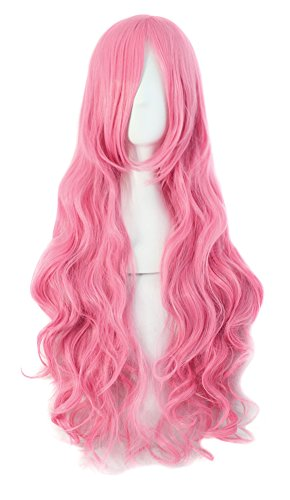 """MapofBeauty 32"""" 80cm Long Hair Spiral Curly Cosplay Costume Wig (Dark Pink)"""