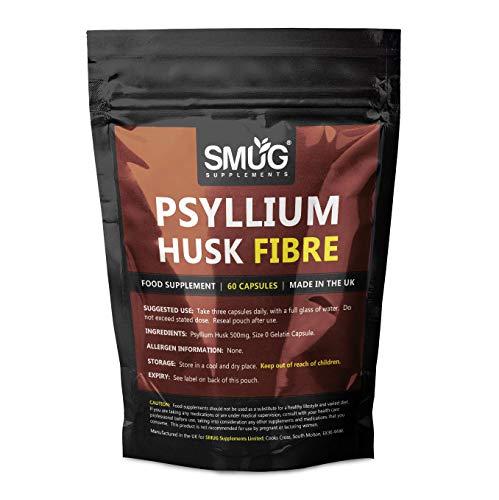 Psyllium Husk Fiber Capsules by SMUG Supplements | Pure & Natural Fibre Pills | 500mg | UK Manufacturer (120 Capsules (Twin Pack))