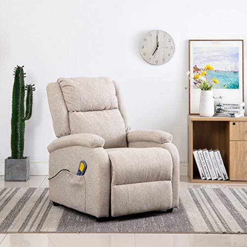 FAMIROSA Sillón de Masaje reclinable de Tela Color crema-8697