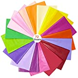 BUZIFU Seidenpapier 72 Blatt Geschenkpapier 18 Farben bastelpapier Blumen Papier Transparentpapier Buntes Papier Multi Farbige Papier Seidenpapier für Geburstag, Weinachtensgechenk, DIY Deko, 50*70CM
