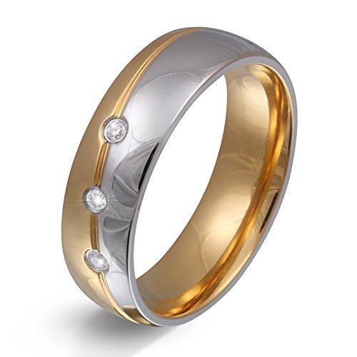 Juwelier Schönschmied - Unisex Partnerring Ehering Hochzeitsring Trauring Femar Edelstahl Zirkonia 54 (17.2) 168Dac
