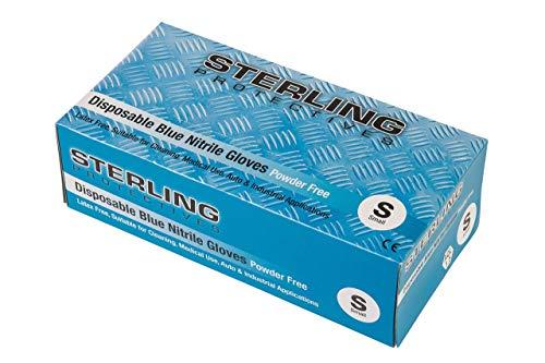 Glocableties, guanti usa e getta in nitrile, di alta qualità, blu, confezione da 100guanti usa e getta,senza polvere AQL 1.5, Blue, Small - Size 7