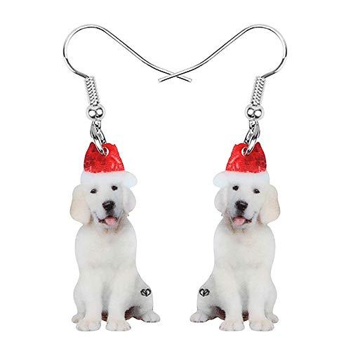 HBHBS Acrílico Sombrero de Navidad Labrador Pendientes de Perro Drop Dangle Animal...