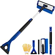 """GEJRIO Car Snow Brush with Detachable Ice Scraper & Squeegee, 5 in 1 Extendable Foam Snow Brush, 27"""" to 35"""" Snow Removal Broom with Durable Gloves for Car Auto SUV Truck Windshield Windows"""