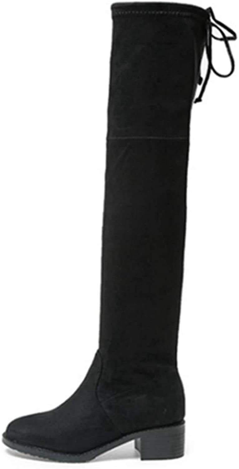 GEORPE Over-The-Knee Boots Square Medium Heels Black Thigh High Long Boots for Women