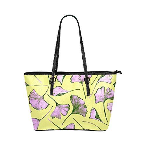 JEOLVP Tasche Handtaschen natürliche gelbe Herbst Pflanze Ginkgo Leder Hand Totes Tasche kausale Handtaschen Reißverschluss Schulter Organizer für Lady Girls Damen Geldbörse und Handtaschen