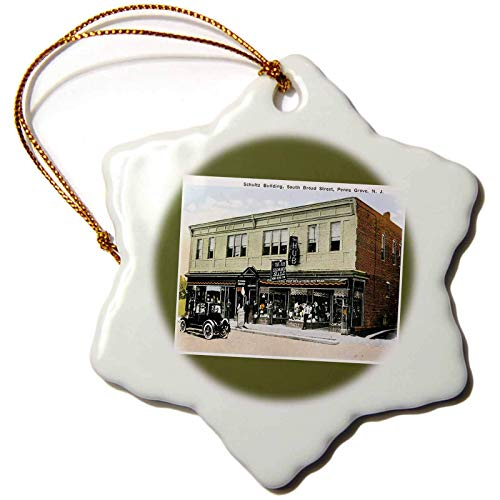 Kysd43Mill BLN Vintage US Cities and States Postcards Schultz Building South Broad Street Penns Grove New Jersey Christmas Ornaments for Kids Christmas Tree Decoration Ceramic 3 Inches
