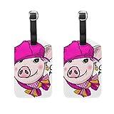 WINCAN Gepäckanhänger (Sortiert, 2 PK),Hübsche Schwein Ohrringe rosa Hut gestricktGepäckanhänger, Kofferanhänger für Rucksäcke