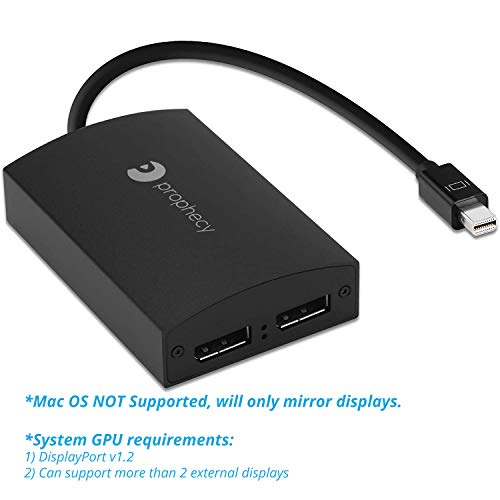 gofanco Prophecy 1x2 Mini DisplayPort 1.2 to 2 Port DisplayPort Display Splitter Adapter  mDP to Dual DP MST Hub Converter, 4K @30Hz, for Windows PCs, Not Mac OS Compatible, Eyefinity (PRO-MSTmDP2DP)