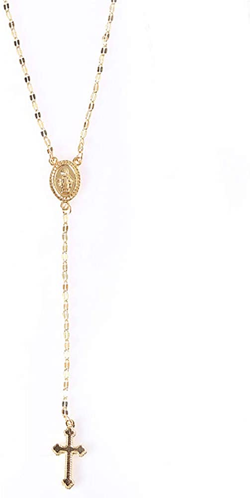 prettDliJUN Chic Women Cross Goddess Image Pendant Praying Necklace Religious Party Jewelry