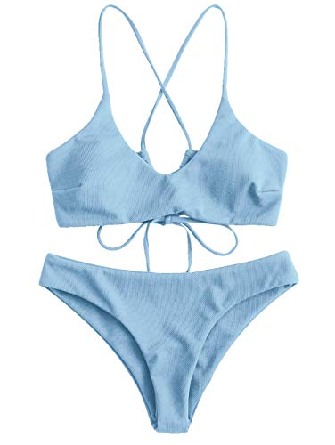 ZAFUL Damen Criss Cross Lace Up Gepolstert Bikini Set Badeanzug (Blau, M)