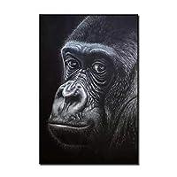 手描きの抽象動物黒油絵キャンバスの壁アートオランウータン絵画用部屋の装飾猿絵画