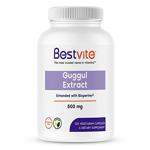Guggul Extract 500mg (120 Vegetarian Capsules) - Backed by Clinical Research, Patented and Standardized, Enhanced by Bioperine - No Fillers - No Stearates - Vegan - Non GMO - Gluten Free