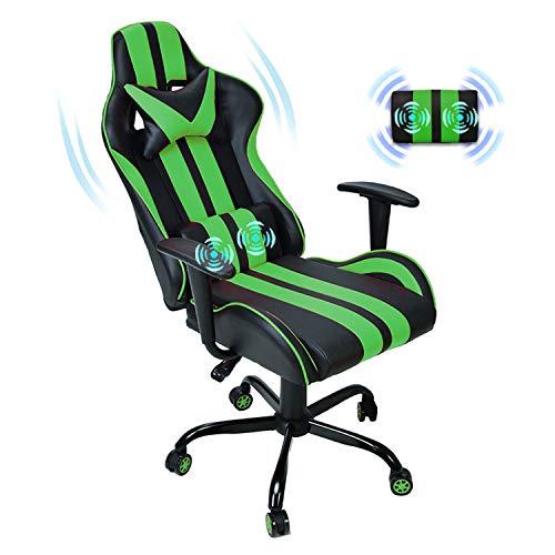 Ferghana Computer Chair,Gaming Chair Massage,PC Gaming Chair for Adults Teens,Video Gaming Chair with Headrest Massage Lumbar Support (Dark Green)