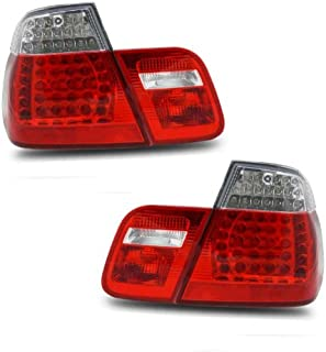 SPPC 4 Door L.E.D Taillights Red/Clear 4 pieces Assembly Set For BMW 3 Series E46 - (Pair) Driver Left and Passenger Right Side Replacement