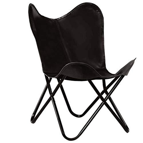 vidaXL Vlinderstoel Kinderformaat Echt Leer Zwart Kinderstoel Fauteuil Stoel