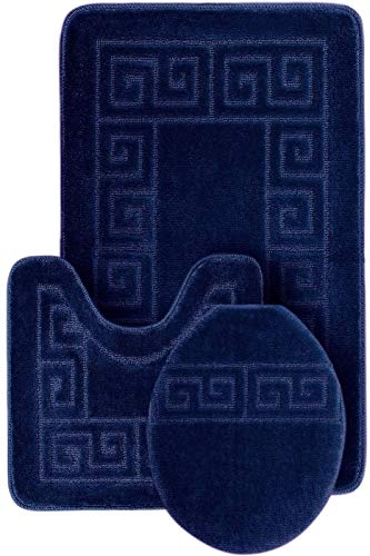 "3 Piece Bath Rug Set Pattern Bathroom Rug (20""x32"")/large Contour Mat (20""x20"") with Lid Cover (Navy)"