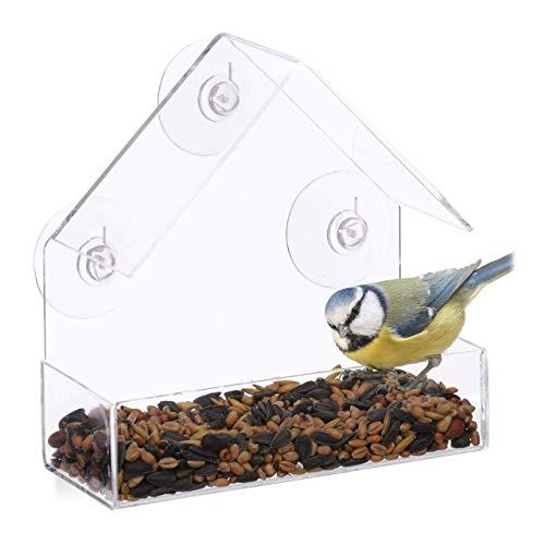 Relaxdays 10024325 Mangeoire à Oiseaux fenêtre, 3 ventouses, Distributeur de graines, Nichoir, HLP : 15 x 15 x 7 cm, Transparent, Acrylique, PVC