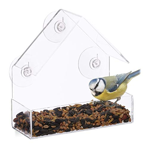 Relaxdays, transparent Fenster-Vogelfutterhaus, für Wildvögel, 3 Saugnäpfe, Futterstation mit Dach, HBT: 15 x 15 x 7 cm, Acrylglas, PVC, 1 Stück